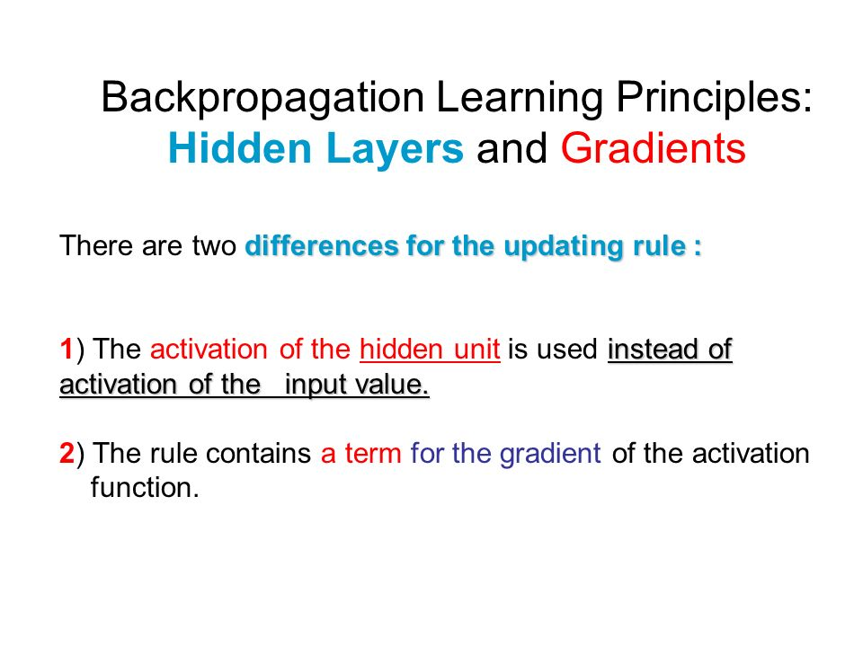 Backpropagation Learning Principles: Hidden Layers and Gradients