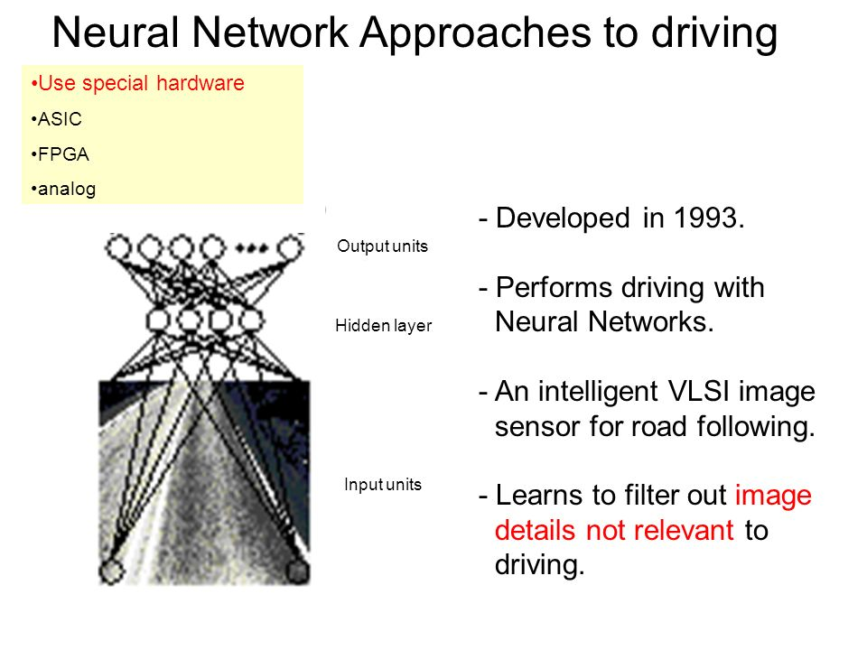 Neural Network Approaches to driving