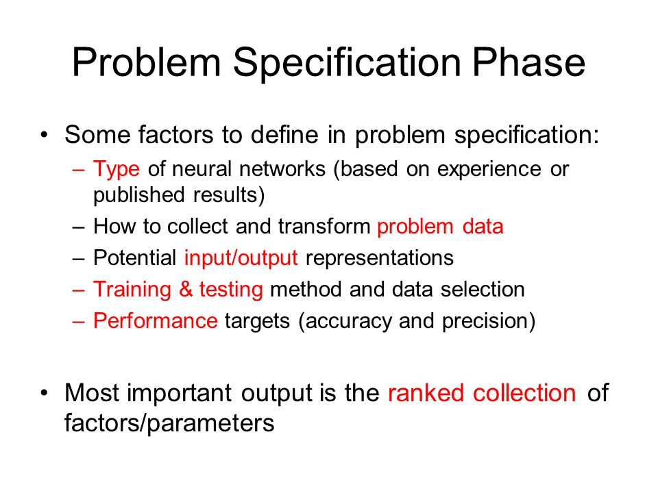 Problem Specification Phase