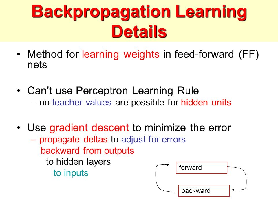 Backpropagation Learning Details