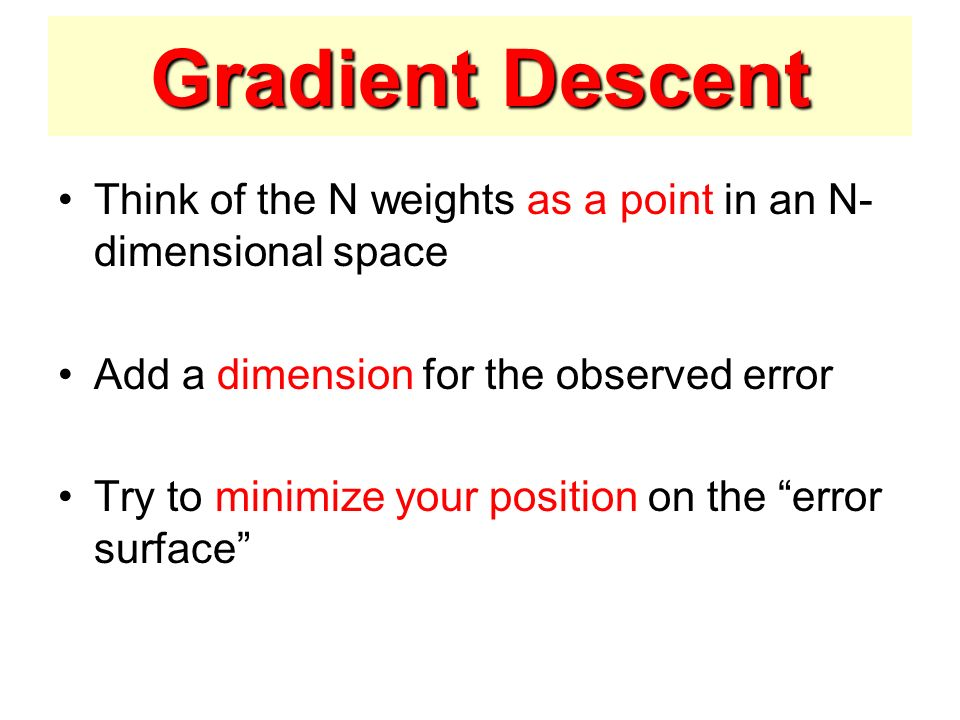 Gradient Descent Think of the N weights as a point in an N-dimensional space. Add a dimension for the observed error.