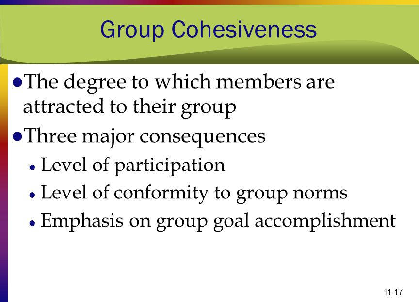 Group Cohesiveness The degree to which members are attracted to their group. Three major consequences.
