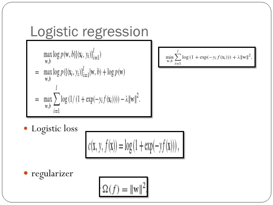 Logistic regression regularizer Logistic loss