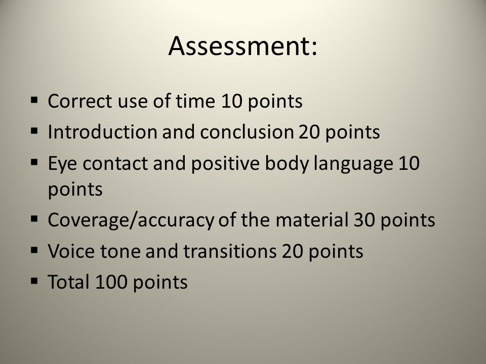 Assessment: Correct use of time 10 points