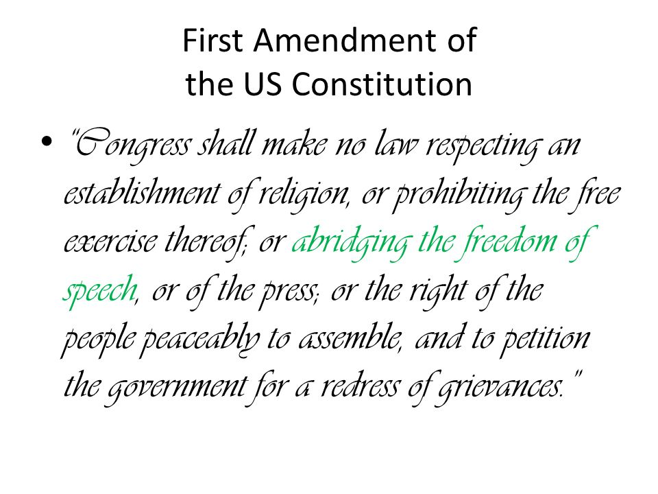 us constitution freedom of speech Freedom of speech and press: exceptions to the first amendment congressional research service summary the first amendment to the united states constitution provides.