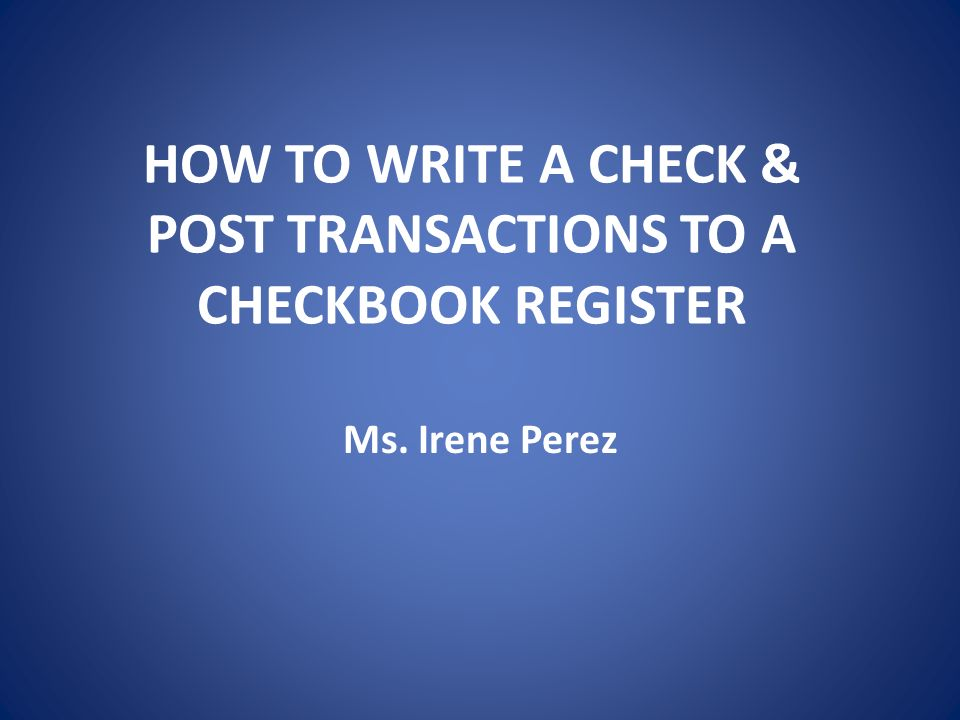 Checkbook how to write