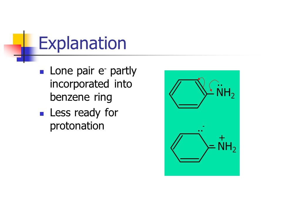 Explanation Lone pair e- partly incorporated into benzene ring