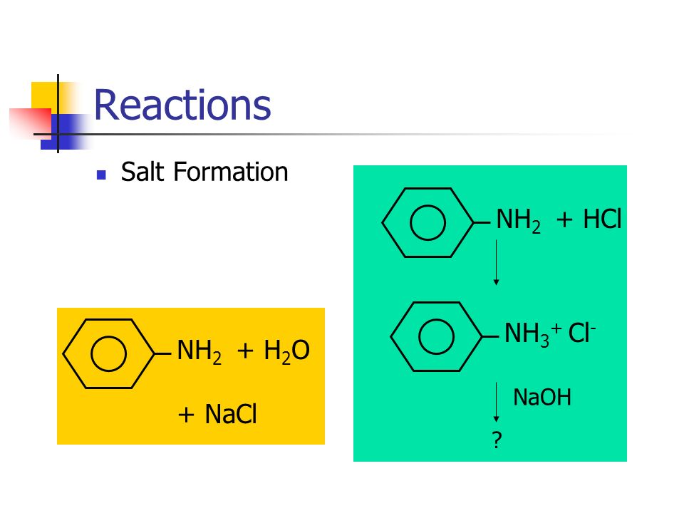 Reactions Salt Formation NH2 + HCl NH3+ Cl- NH2 + H2O + NaCl NaOH