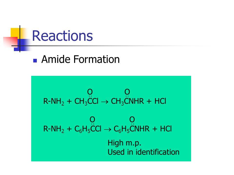 Reactions Amide Formation O O R-NH2 + CH3CCl  CH3CNHR + HCl O O