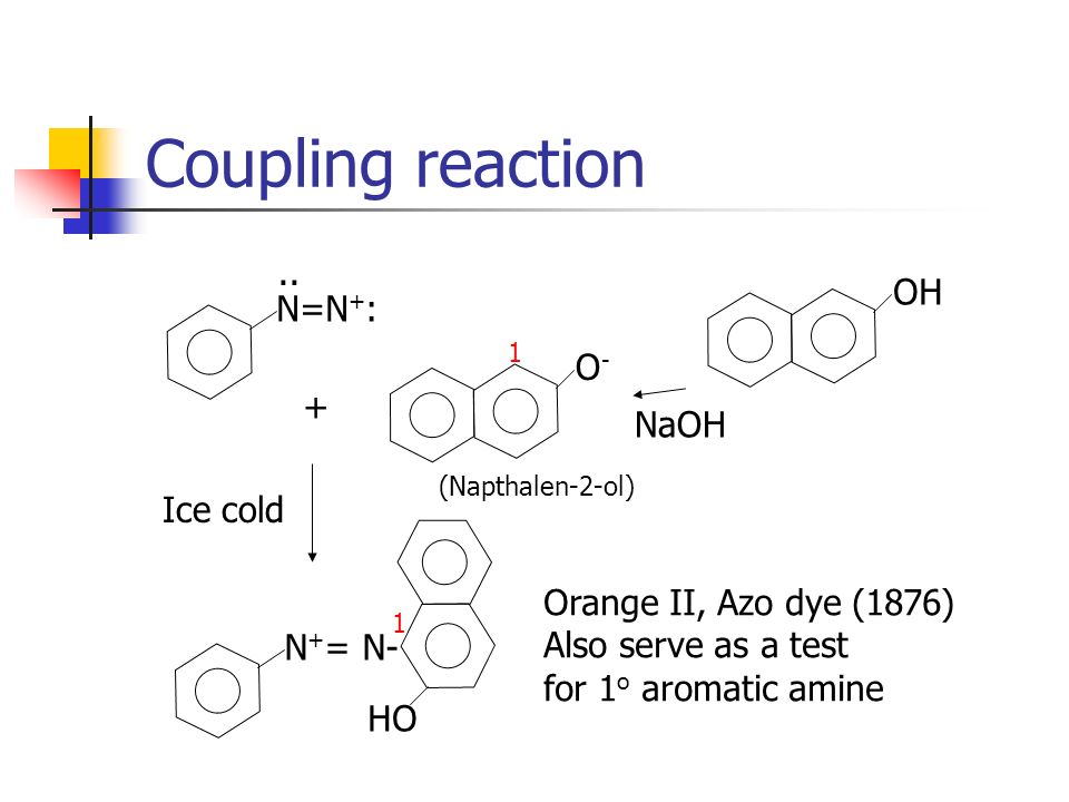Coupling reaction .. OH N=N+: O- + NaOH Ice cold