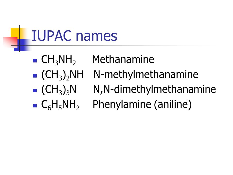 IUPAC names CH3NH2 Methanamine (CH3)2NH N-methylmethanamine