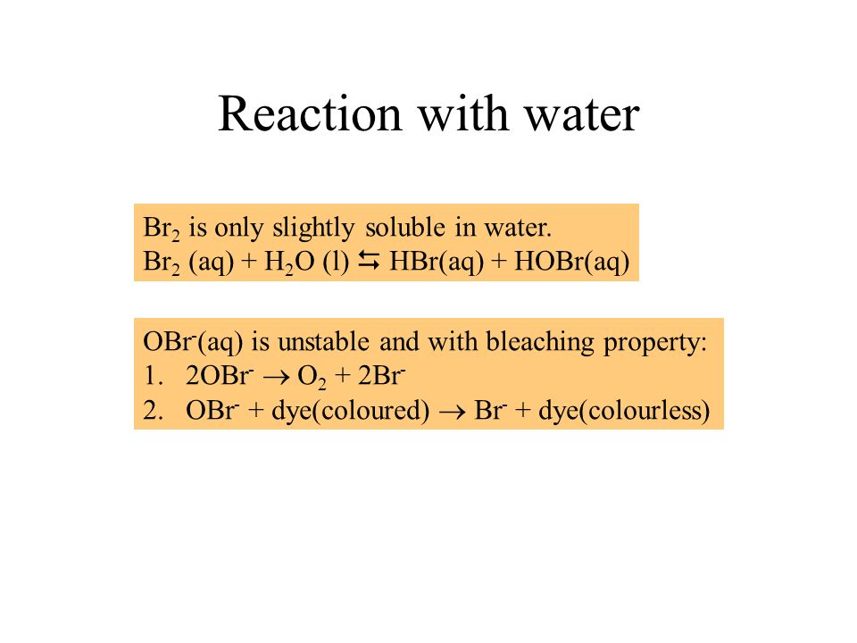 Reaction with water Br2 is only slightly soluble in water.