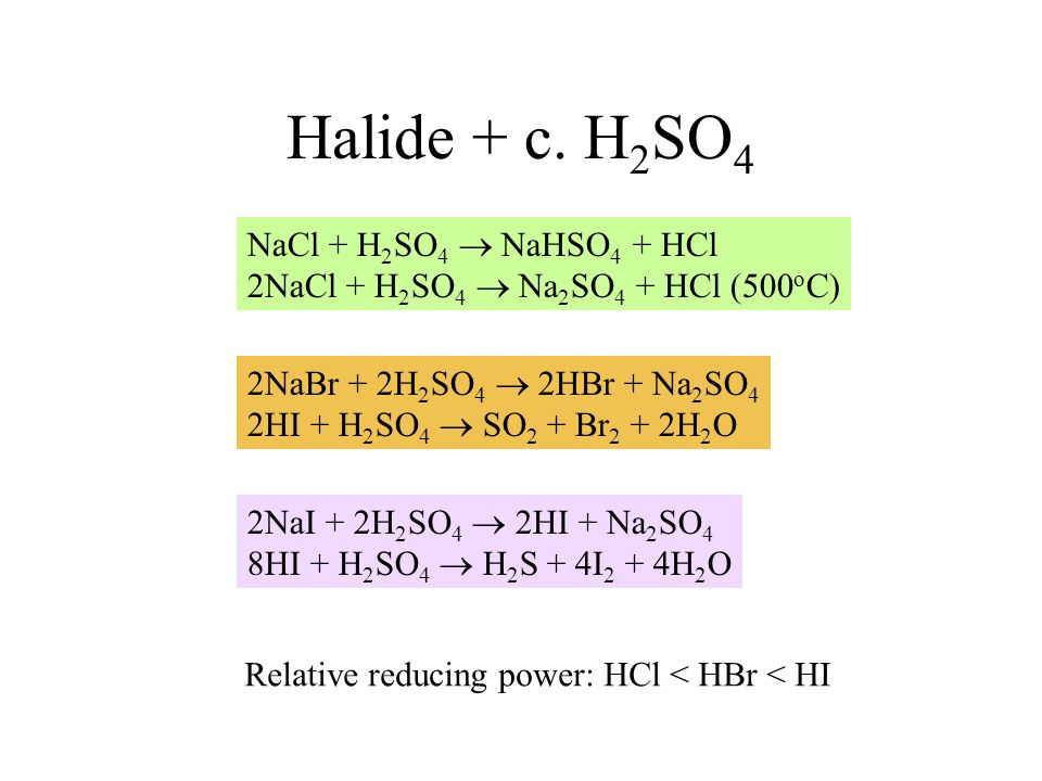 Halide + c. H2SO4 NaCl + H2SO4  NaHSO4 + HCl