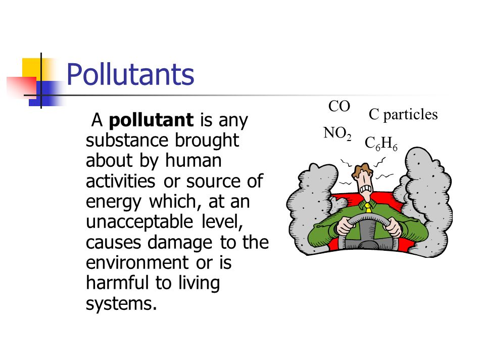 Pollutants NO2. C6H6. CO. C particles.
