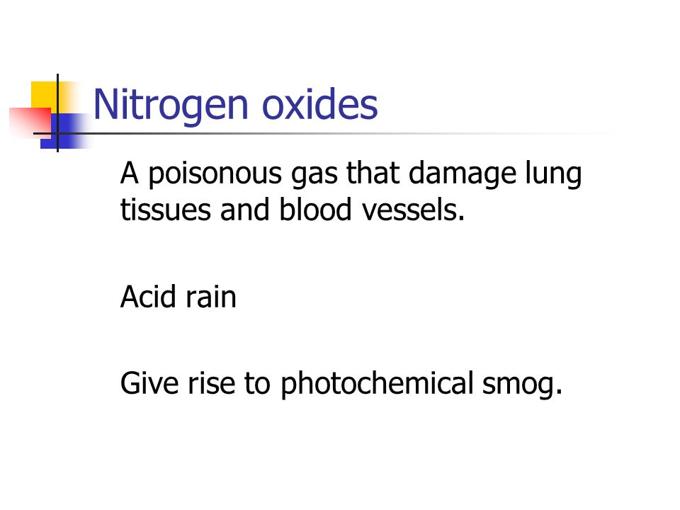 Nitrogen oxides A poisonous gas that damage lung tissues and blood vessels.