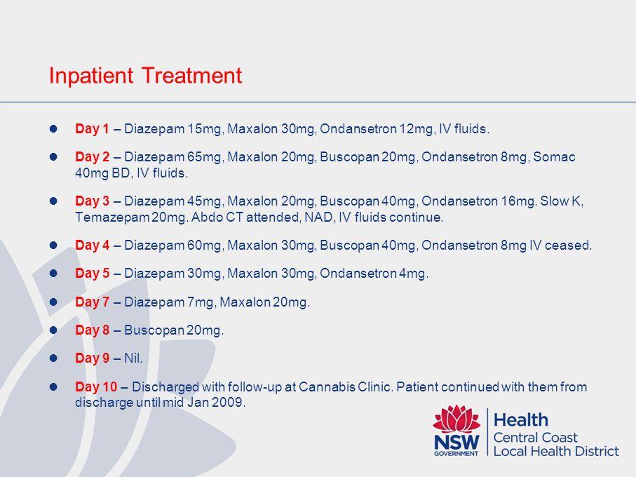 Inpatient Treatment Day 1 – Diazepam 15mg, Maxalon 30mg, Ondansetron 12mg, IV fluids.