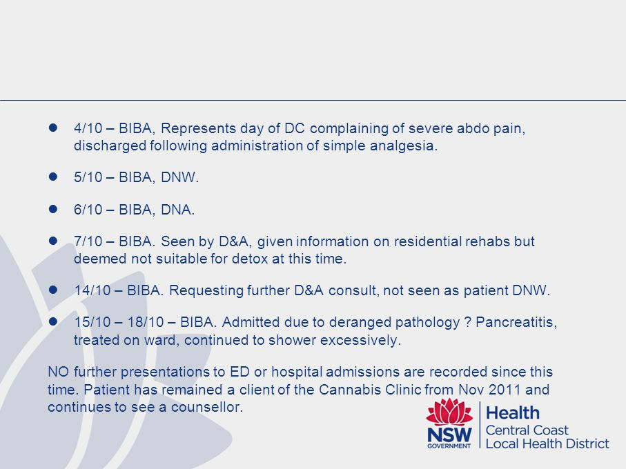 4/10 – BIBA, Represents day of DC complaining of severe abdo pain, discharged following administration of simple analgesia.