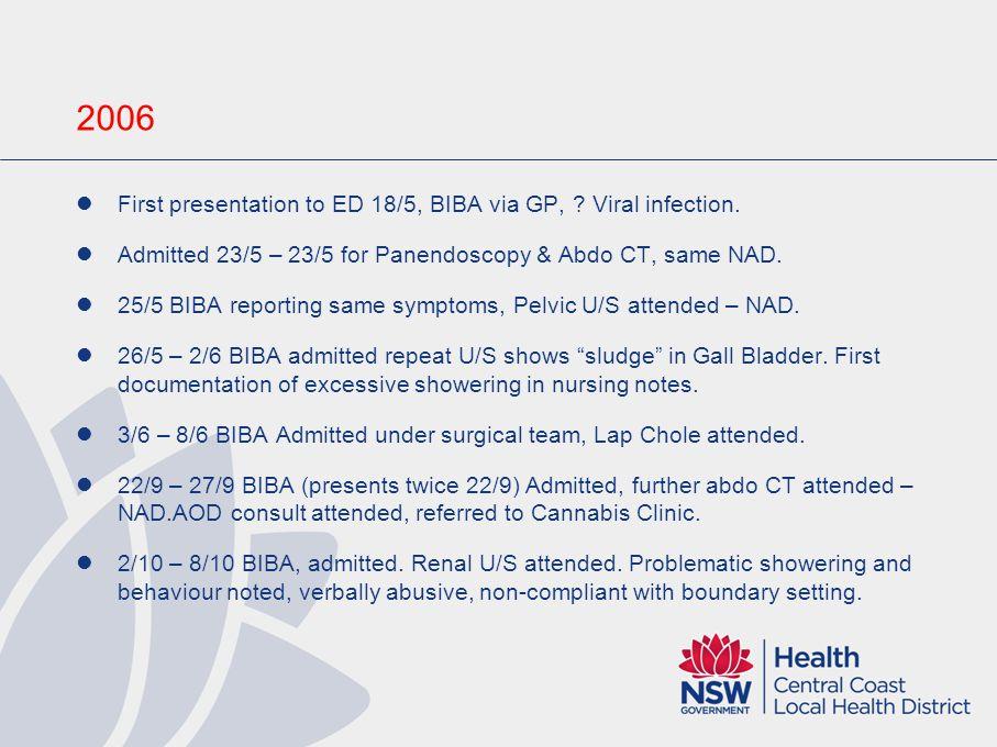 2006 First presentation to ED 18/5, BIBA via GP, Viral infection.