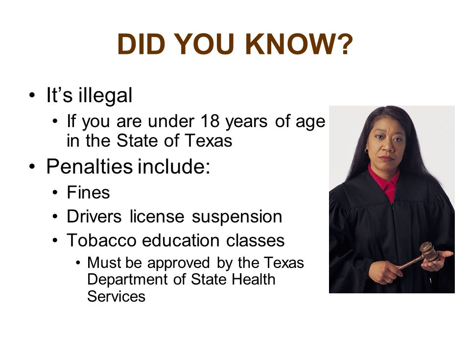 DID YOU KNOW It's illegal Penalties include: