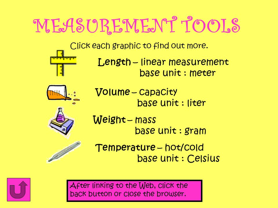 MEASUREMENT TOOLS Length – linear measurement base unit : meter