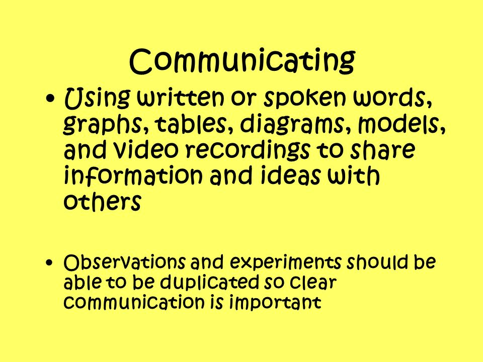 Communicating Using written or spoken words, graphs, tables, diagrams, models, and video recordings to share information and ideas with others.