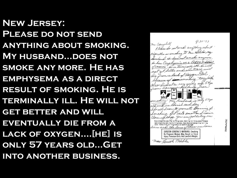 New Jersey: Please do not send anything about smoking