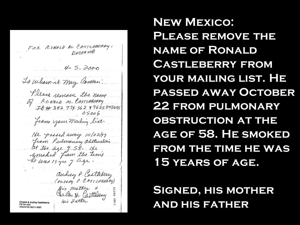 New Mexico: Please remove the name of Ronald Castleberry from your mailing list.