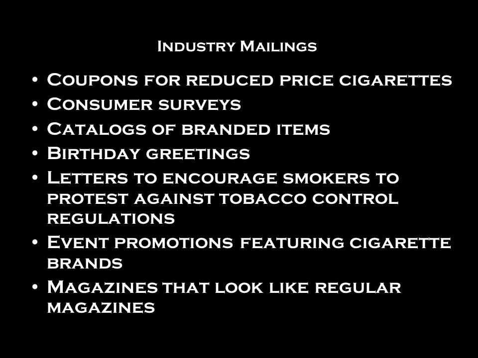 Coupons for reduced price cigarettes Consumer surveys