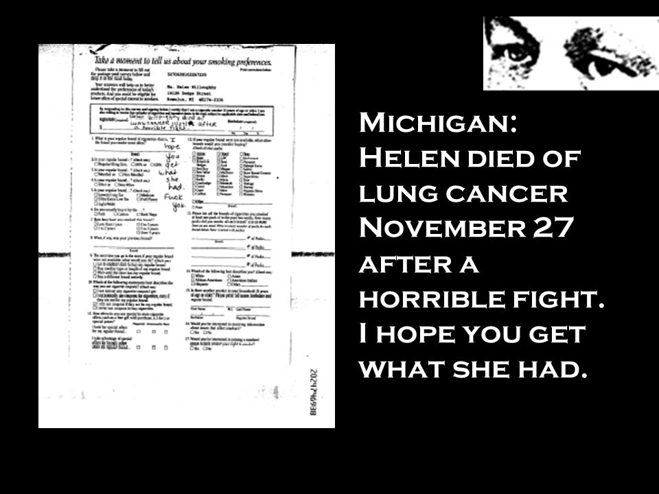 Michigan: Helen died of lung cancer November 27 after a horrible fight
