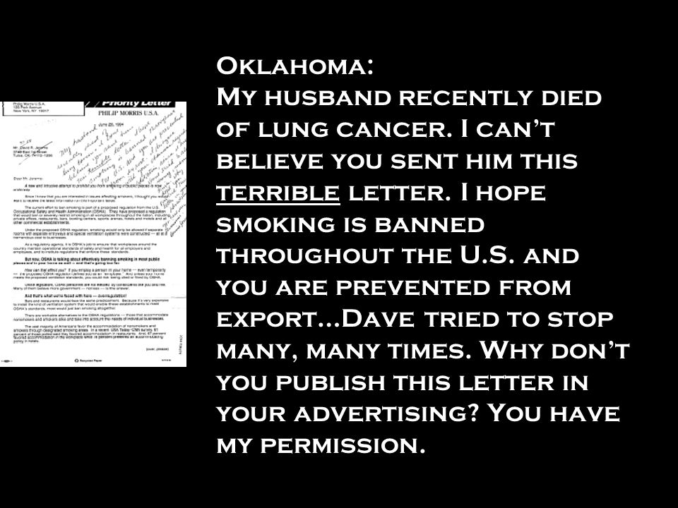 Oklahoma: My husband recently died of lung cancer
