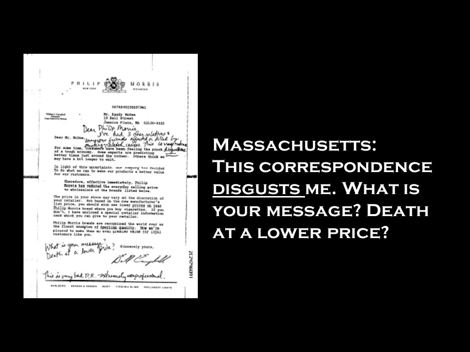 Massachusetts: This correspondence disgusts me. What is your message