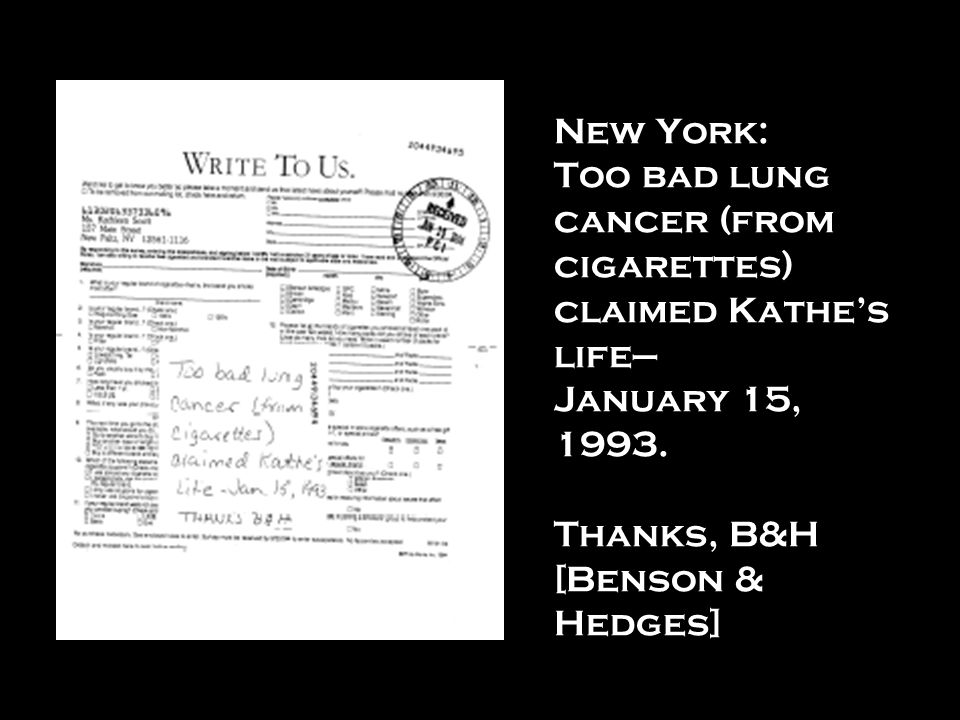 New York: Too bad lung cancer (from cigarettes) claimed Kathe's life— January 15, 1993.
