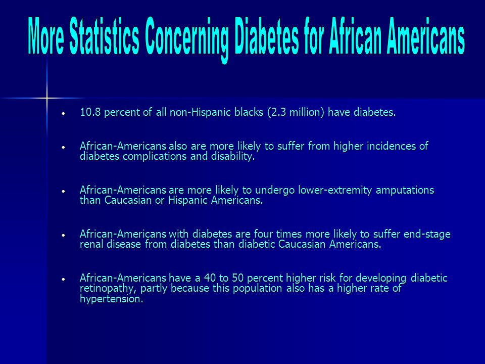 More Statistics Concerning Diabetes for African Americans