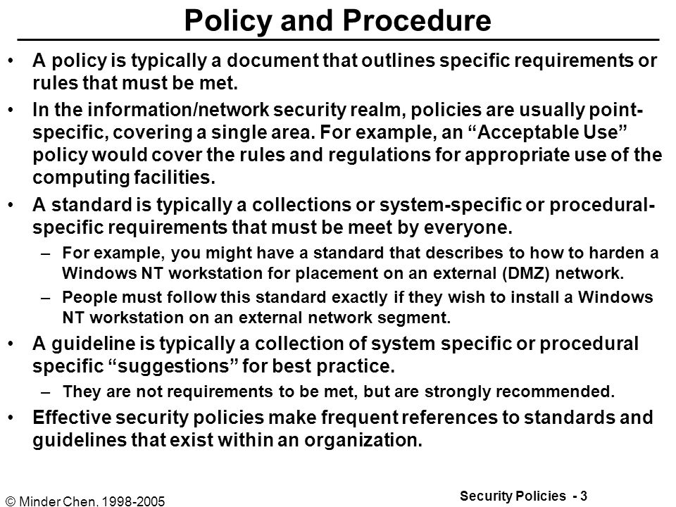 policy and procedure document template - security policies and procedures ppt download