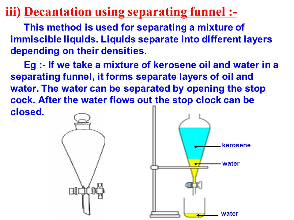 iii) Decantation using separating funnel :-
