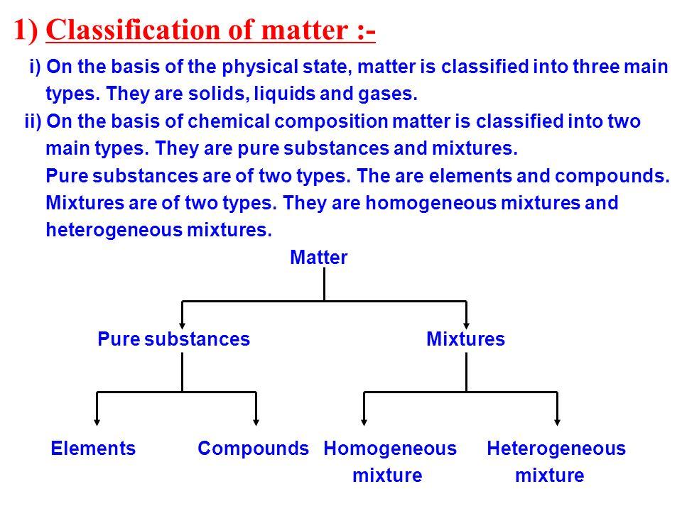 1) Classification of matter :-