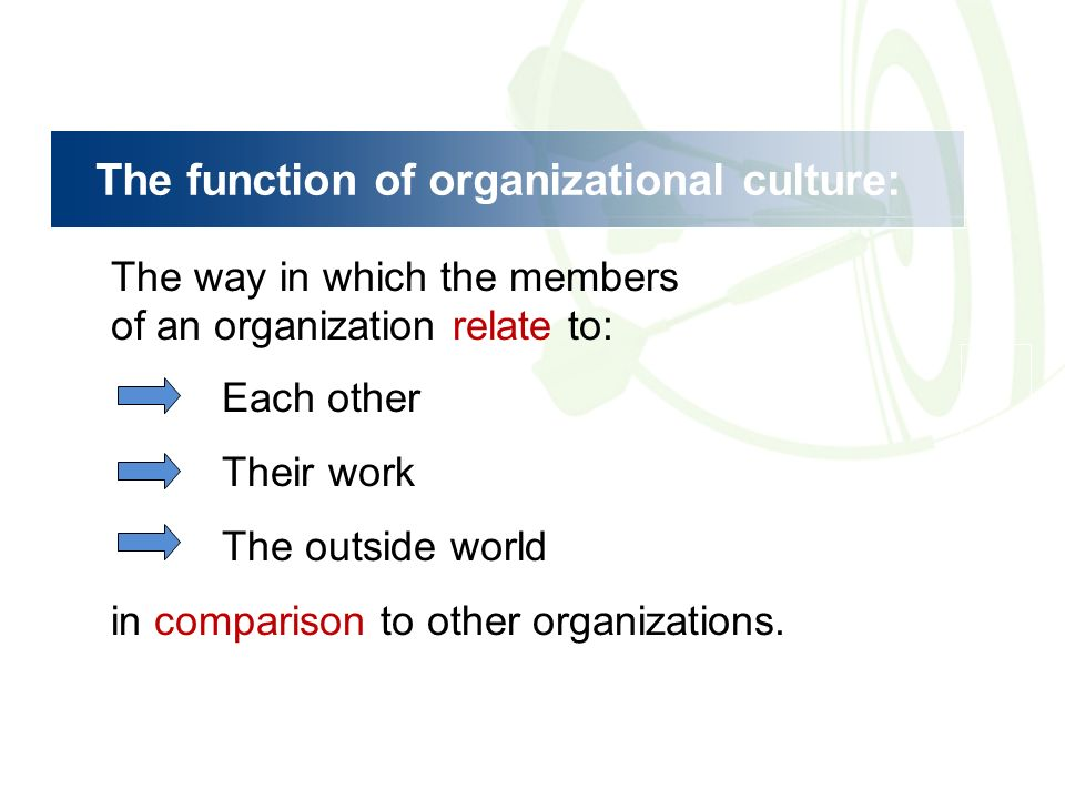 organization structure functions culture and performance Umiker 2 so what is an organizational culture and how does it function   management structure in such a culture is going to be difficult at best, if not  impossible, without a  in an ideal mercenary culture, insufficient performance or  failure is.