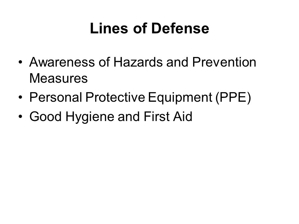 Lines of Defense Awareness of Hazards and Prevention Measures