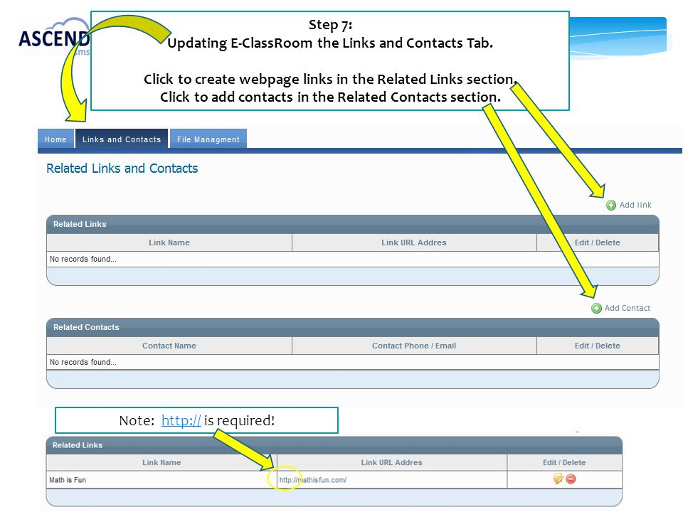 Updating E-ClassRoom the Links and Contacts Tab.
