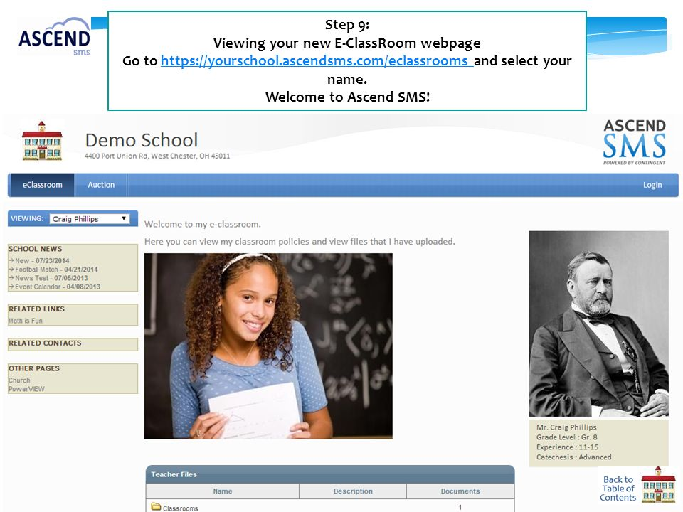 Viewing your new E-ClassRoom webpage