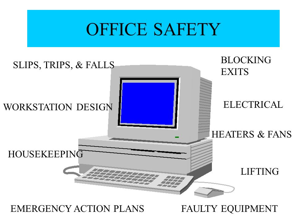 Electrical Office Equipment : Office safety blocking exits slips trips falls