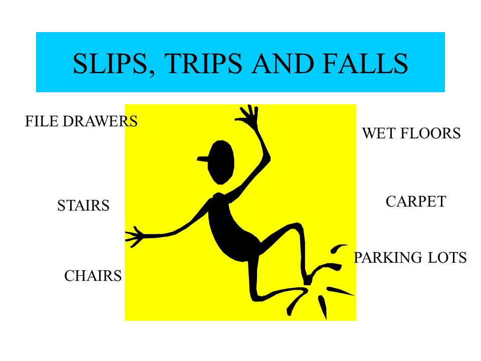SLIPS, TRIPS AND FALLS FILE DRAWERS WET FLOORS CARPET STAIRS