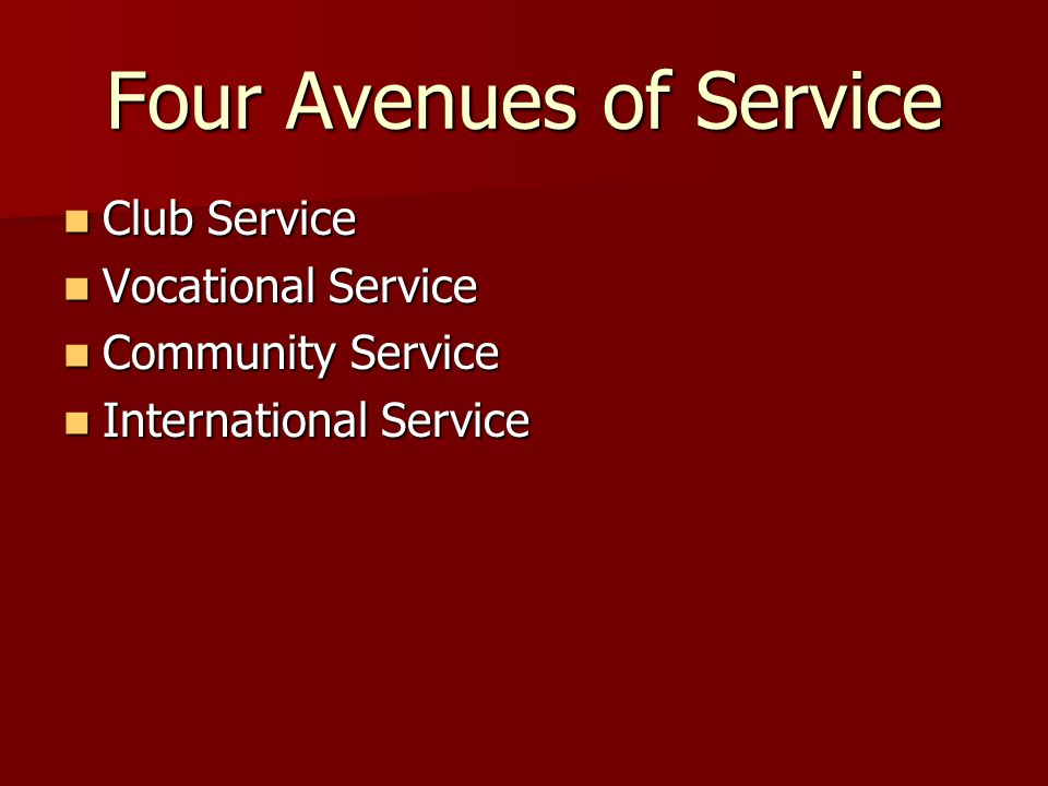 Four Avenues of Service