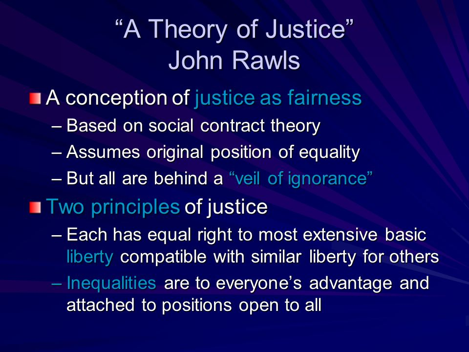 essay on john rawls theory of justice A theory of justice (1971), by john rawls, is ''one of the most influential works in moral and political philosophy written in the twentieth century,'' according to samuel freeman in the collected papers of john rawls (1999.