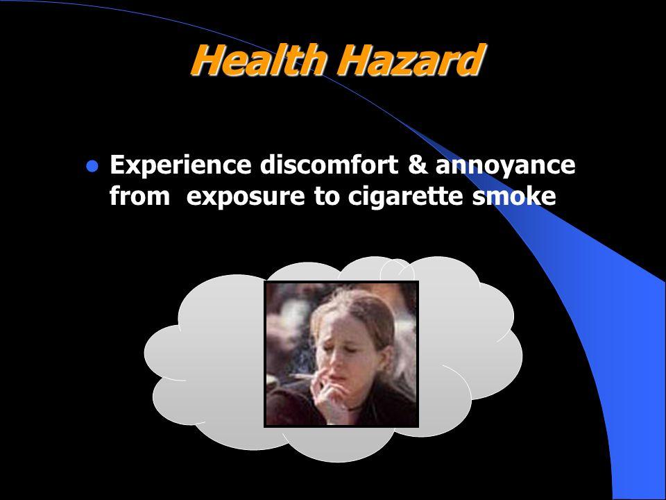 Health Hazard Experience discomfort & annoyance from exposure to cigarette smoke