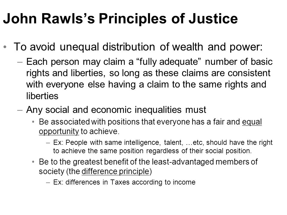 john rawl and the difference principle in the original position The original position,  we'll consider the two principles that rawl's thinks would be  the difference principle given the original position setup.