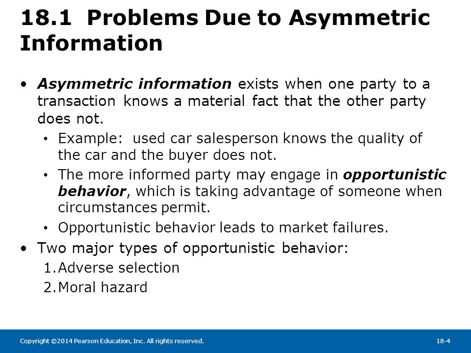 information asymmetry Asymmetric information in insurance markets: predictions and tests pierre-andr e chiapporiy bernard salani ez february 21, 2013  asymmetric information, \beyond testing to use the title of the survey by einav, finkelstein and levin (2010)  of informational asymmetry, and arguably not the most important one.