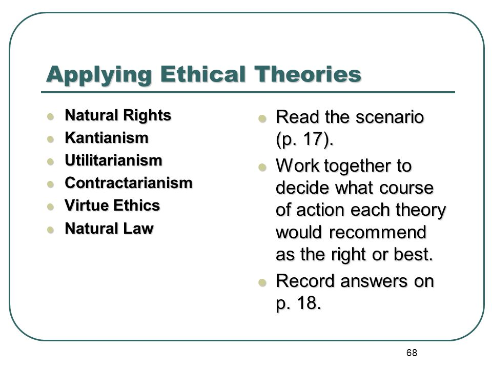 applying ethics 136 rosalind hursthouse applying virtue ethics to our treatment of the other animals applying virtue ethics to moral issues should be straightforward.