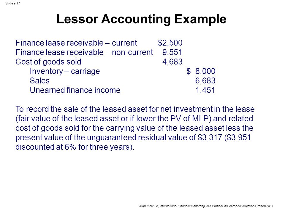 Unguaranteed Residual Value >> ACTG 6580 Chapter 9 - LEASES (IAS17). - ppt video online download