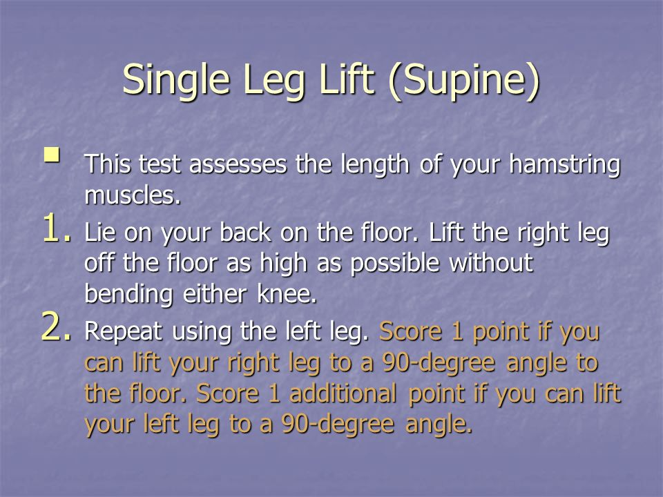 Single Leg Lift (Supine)